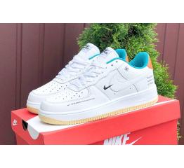 Купить Мужские кроссовки Nike Air Force 1 Low 07 LE Starfish белые с бирюзовым и оранжевым