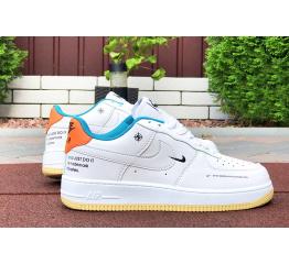 Купить Мужские кроссовки Nike Air Force 1 Low 07 LE Starfish белые с бирюзовым и оранжевым в Украине