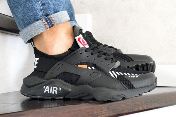 Мужские кроссовки Nike Air Huarache x Off-White черные с белым