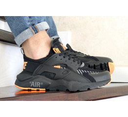 Купить Мужские кроссовки Nike Air Huarache x Off-White черные с оранжевым