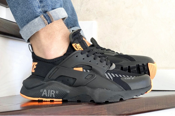 Мужские кроссовки Nike Air Huarache x Off-White черные с оранжевым