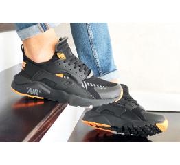 Купить Мужские кроссовки Nike Air Huarache x Off-White черные с оранжевым в Украине