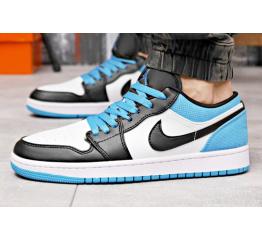 Купить Мужские кроссовки Nike Air Jordan 1 Retro Low OG белые с черным и годубым