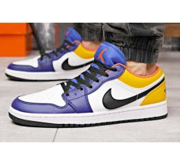 Купить Мужские кроссовки Nike Air Jordan 1 Retro Low OG белые с синим и желтым