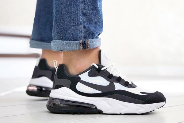 Мужские кроссовки Nike Air Max 270 React белые с черным