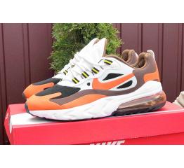 Мужские кроссовки Nike Air Max 270 React белые с оранжевым