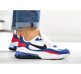 Мужские кроссовки Nike Air Max 270 React белые с синим и красным
