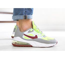 Мужские кроссовки Nike Air Max 270 React серые с неоново-салатовым