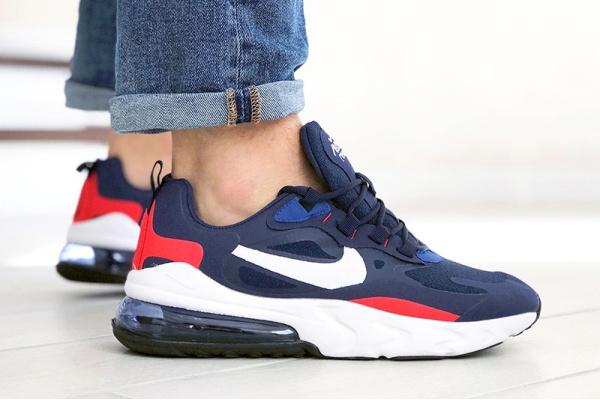 Мужские кроссовки Nike Air Max 270 React синие с белым