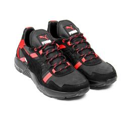 Купить Чоловічі кросівки Puma чорні з червоним в Украине