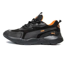 Купить Мужские кроссовки Puma черные с оранжевым