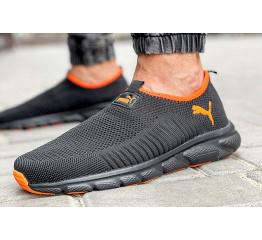 Купить Мужские кроссовки Puma Slip-on черные с оранжевым