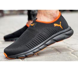 Купить Мужские кроссовки Puma Slip-on черные с оранжевым в Украине