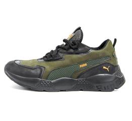 Купить Мужские кроссовки Puma зеленые с черным