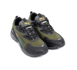 Купить Мужские кроссовки Puma зеленые с черным в Украине