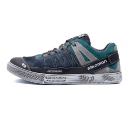 Купить Мужские кроссовки Salomon серые с зеленым