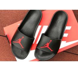 Купить Мужские шлепанцы Nike Air Jordan черные с красным