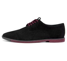 Купить Мужские туфли VanKristi с перфорацией черные с бордовым