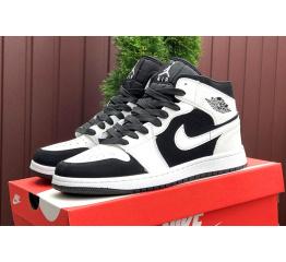 Купить Мужские высокие кроссовки Nike Air Jordan 1 Retro High OG белые с черным