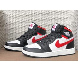 Купить Мужские высокие кроссовки Nike Air Jordan 1 Retro High OG белые с черным и красным