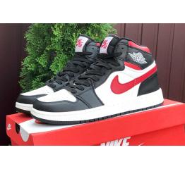 Купить Мужские высокие кроссовки Nike Air Jordan 1 Retro High OG белые с черным и красным в Украине