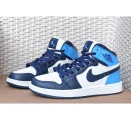 Купить Мужские высокие кроссовки Nike Air Jordan 1 Retro High OG белые с синим