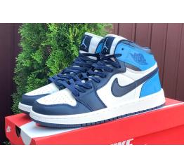 Купить Мужские высокие кроссовки Nike Air Jordan 1 Retro High OG белые с синим в Украине