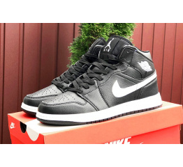 Купить Чоловічі високі кросівки Nike Air Jordan 1 Retro High OG чорні з білим