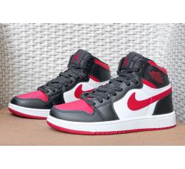 Купить Мужские высокие кроссовки Nike Air Jordan 1 Retro High OG черные с белым и красным