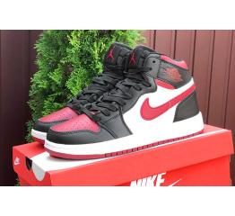 Купить Чоловічі високі кросівки Nike Air Jordan 1 Retro High OG чорні з білим і червоним в Украине