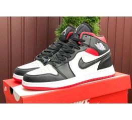 Купить Чоловічі високі кросівки Nike Air Jordan 1 Retro High OG чорні з білим і червоним