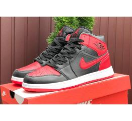 Купить Мужские высокие кроссовки Nike Air Jordan 1 Retro High OG черные с красным