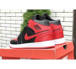 Купить Чоловічі високі кросівки Nike Air Jordan 1 Retro High OG чорні з червоним в Украине