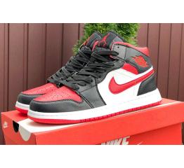 Купить Мужские высокие кроссовки Nike Air Jordan 1 Retro High OG черные с красным и белым
