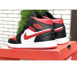 Купить Чоловічі високі кросівки Nike Air Jordan 1 Retro High OG чорні з червоним і білим в Украине