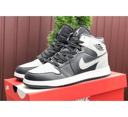 Купить Мужские высокие кроссовки Nike Air Jordan 1 Retro High OG черные с серым