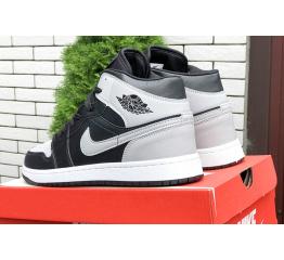 Купить Чоловічі високі кросівки Nike Air Jordan 1 Retro High OG чорні з сірим в Украине