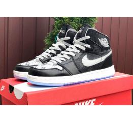 Купить Чоловічі високі кросівки Nike Air Jordan 1 Retro High OG x Louis Vuitton чорні з сірим