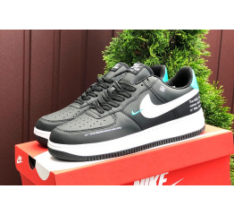 Купить Женские кроссовки Nike Air Force 1 Low 07 LE Starfish черные с белым и бирюзовым
