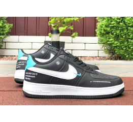 Купить Жіночі кросівки Nike Air Force 1 Low 07 LE Starfish чорні з білим і бірюзовим в Украине