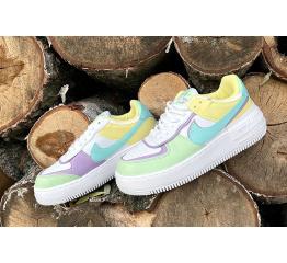 Купить Жіночі кросівки Nike Air Force 1 Shadow білі з зеленим і жовтим