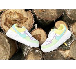 Купить Женские кроссовки Nike Air Force 1 Shadow белые с зеленым и желтым в Украине