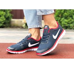 Купить Женские кроссовки Nike Free 3.0 V2 темно-синие с белым и красным