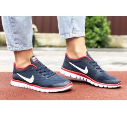Купить Жіночі кросівки Nike Free 3.0 V2 темно-сині з білим і червоним в Украине