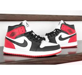 Купить Женские высокие кроссовки Nike Air Jordan 1 Retro High OG черные с белым и красным