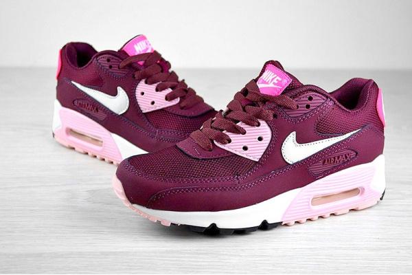 Женские кроссовки Nike Air Max 90 бордовые