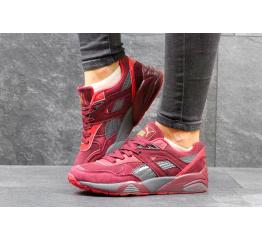 Купить Женские кроссовки Puma Trinomic R698 бордовые с серым