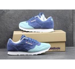 Купить Женские кроссовки Reebok Classic Leather синие с бирюзовым