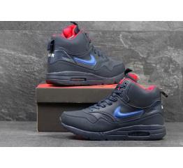 Купить Чоловічі високі зимові кросівки Nike WMNS Air Max 1 Mid Sneakerboot темно-сині з червоним