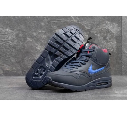 Купить Мужские высокие зимние кроссовки Nike WMNS Air Max 1 Mid Sneakerboot темно-синие с красным в Украине